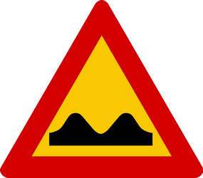 Traffic sign of Iceland: Warning for a bad road surface