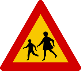 Traffic sign of Iceland: Warning for children