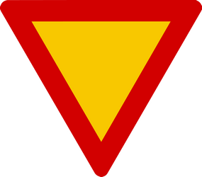 Traffic sign of Iceland: Give way to all drivers