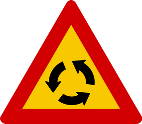 Traffic sign of Iceland: Warning for a roundabout