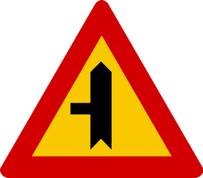 Traffic sign of Iceland: Warning for a crossroad with a side road on the left