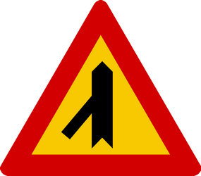 Traffic sign of Iceland: Warning for a crossroad with a sharp side road on the left