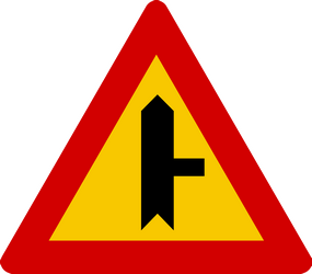 Traffic sign of Iceland: Warning for side road on the right