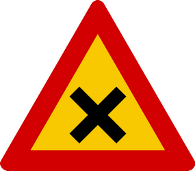 Traffic sign of Iceland: Warning for an uncontrolled crossroad