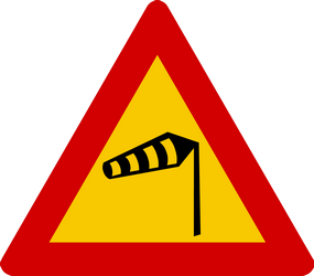 Traffic sign of Iceland: Warning for heavy crosswind