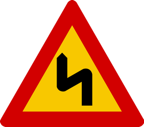 Traffic sign of Iceland: Warning for a double curve, first left then right