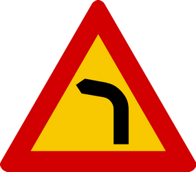 Traffic sign of Iceland: Warning for a curve to the left