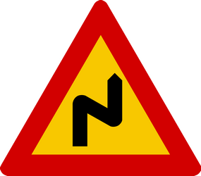 Traffic sign of Iceland: Warning for a double curve, first right then left