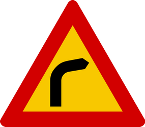 Traffic sign of Iceland: Warning for a curve to the right