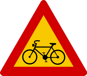 Traffic sign of Iceland: Warning for cyclists