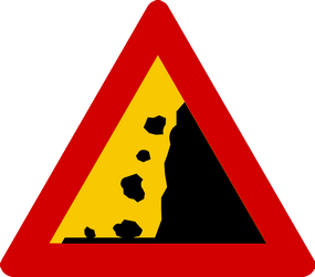 Traffic sign of Iceland: Warning for falling rocks
