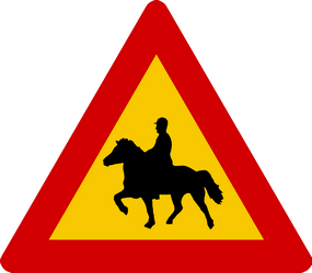 Traffic sign of Iceland: Warning for equestrians