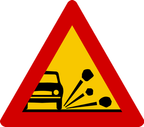 Traffic sign of Iceland: Warning for loose chippings on the road surface
