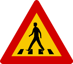 Traffic sign of Iceland: Warning for a crossing for pedestrians