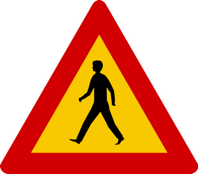 Traffic sign of Iceland: Warning for pedestrians