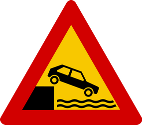 Traffic sign of Iceland: Warning for a quayside or riverbank