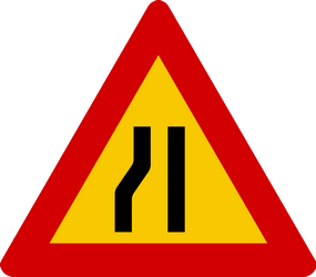 Traffic sign of Iceland: Warning for a road narrowing on the left