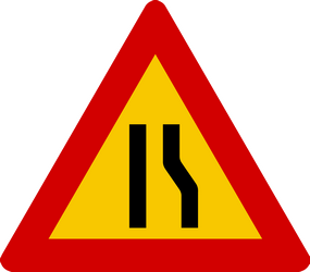 Traffic sign of Iceland: Warning for a road narrowing on the right