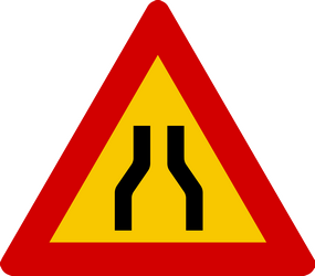 Traffic sign of Iceland: Warning for a road narrowing