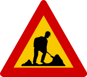 Traffic sign of Iceland: Warning for roadworks
