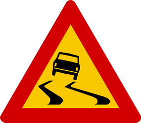 Traffic sign of Iceland: Warning for a slippery road surface