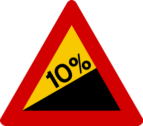 Traffic sign of Iceland: Warning for a steep ascent