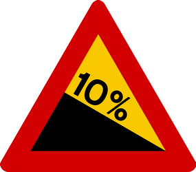 Traffic sign of Iceland: Warning for a steep descent