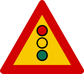 Traffic sign of Iceland: Warning for a traffic light