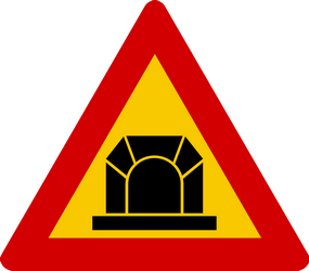 Traffic sign of Iceland: Warning for a tunnel