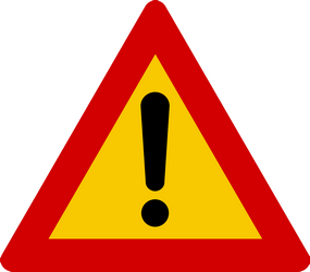 Traffic sign of Iceland: Warning for a danger with no specific traffic sign