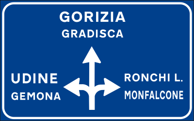 Traffic sign of Italy: Information about the directions of the crossroad