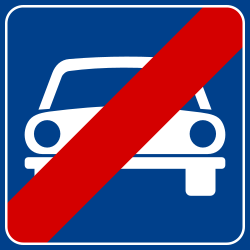 Traffic sign of Italy: End of the expressway