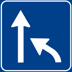 Traffic sign of Italy: End of a lane
