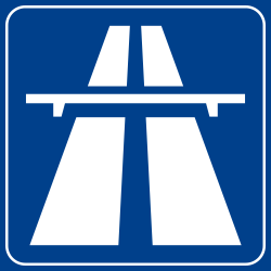 Traffic sign of Italy: Begin of a motorway