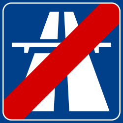 Traffic sign of Italy: End of the motorway