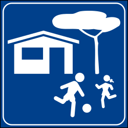Traffic sign of Italy: Begin of a residential area