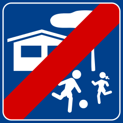 Traffic sign of Italy: End of the residential area