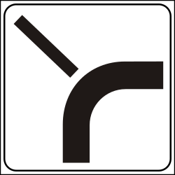 Traffic sign of Italy: Curve of the main road