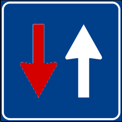 Traffic sign of Italy: Road narrowing, oncoming drivers have to give way