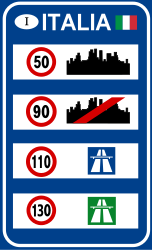 Traffic sign of Italy: National speed limits