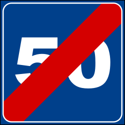 Traffic sign of Italy: End of the recommended speed