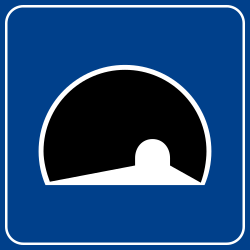 Traffic sign of Italy: Begin of a tunnel