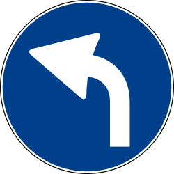 Traffic sign of Italy: Turning left mandatory