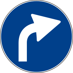 Traffic sign of Italy: Turning right mandatory