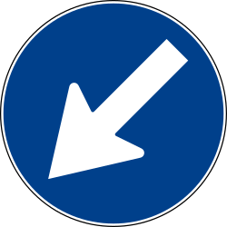 Traffic sign of Italy: Passing left mandatory