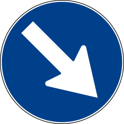 Traffic sign of Italy: Passing right mandatory