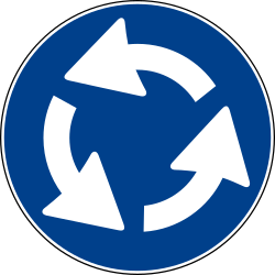 Traffic sign of Italy: Mandatory direction of the roundabout