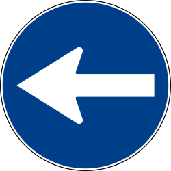 Traffic sign of Italy: Mandatory left