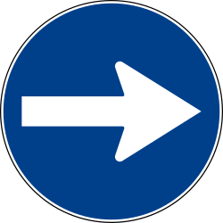 Traffic sign of Italy: Mandatory right