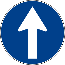 Traffic sign of Italy: Driving straight ahead mandatory